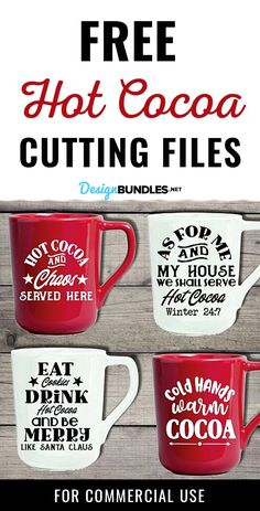 The Hot Cocoa Cut File Bundle contains 4 free Svg Cut Files for Cricut and Silhouette in SVG, DXF and PNG files. Use this free svg file bundle for any winter or Christmas craft project or commercial use. Cricut Svg Files Free, Free Svg Cut Files, Cricut Craft Room, Cricut Vinyl, Cricut Tutorials, Cricut Ideas, Cuadros Diy, Christmas Craft Projects, Circuit Projects