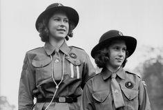 Princess Elizabeth and Princess Margaret as Girl Guides in 1942