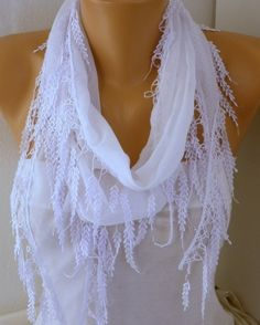 White Scarf  Fringe Scarf  Cotton  Scarf  Cowl Bridal by fatwoman, $13.50