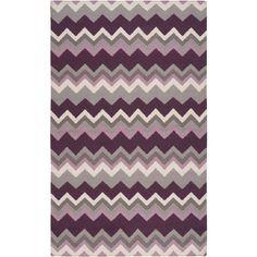 Handwoven Chevron Wool Rug (8' x 11') (Purple), Grey, Size 8' x 11'