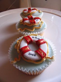 Nautical Themed Cupcakes designed for a magazine shoot! by kylie lambert (Le Cupcake), via Flickr