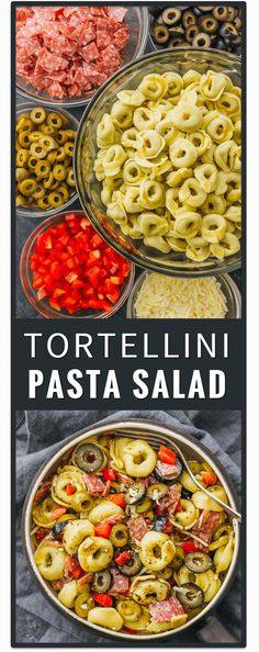 This tortellini pasta salad with Italian dressing is a quick and easy recipe, and deliciously packed with mixed olives, salami, and cheese. healthy, simple, greek, ranch, creamy, cold, spinach, pesto. via @savory tooth