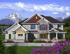 """<ul><li><strong>VIDEO</strong>: See this house plan plan from all angles in our <a href=""""https://www.youtube.com/watch?v=jGGrHVVcz9M"""">YouTube video</a>.</li><li>This two-story design is a cross between a traditional and a craftsman home.</li><li>Columns adorn the front porch and create a space perfect for mom's porch swing while metal details on the front and chimney draw your eye to the design itself.</li><li>A 2-story entry leads you into the home where a den lies to your left and the…"""