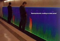The thermochromic urinal is making quite a stir in the web news world. No one really knows who created and designed this innovative and bizarre waste disposal system. The wall in the picture clearly demonstrates how this unusual system works. The wall is heat sensitive i.e. it is built of materials that when peed on change color and allow the person to etch patterns. The wall it seems utilizes the heat of the spray to change color in this case the blue wall turns orange!