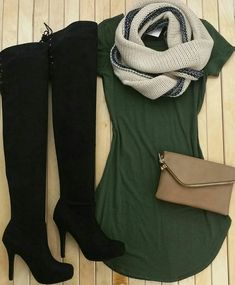 Olive green tshirt dress=love <3
