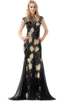 Black Sheer Neck Sequined Mermaid Prom Dress with Tulle Skirt And Open Back JSLD0291
