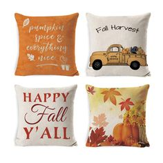 DUSEN Decorative Throw Pillow Covers for Couch, Sofa, or Bed Set of 4 18 x 18 inch Fall Theme Farmhouse Cotton Linen Cusion Cover (Thanksgiving Day Decorative Pillow Covers, Throw Pillow Covers, Decorative Throw Pillows, Cute Gifts For Friends, Happy Fall Y'all, Autumn Theme, Fall Harvest, Fall Pumpkins, Cushion Covers
