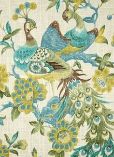 'Preen Aqua Mist' traditional peacock print fabric for elegant drapery panels, pillow covers, swags, duvet covers or light use upholstery.