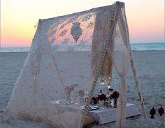LIFES A BEACH dinner on the beach,in the yards chasing fireflies. Beach Tent, Beach Picnic, Beach Dinner, Ocean Beach, Beach Party, Glamping, Camping Cot, Diy Vintage, Deco Boheme