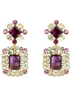 Faceted Amethyst And Blue Topaz Earrings by Bounkit from Bounkit Jewelry