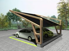 "DCUBE - ECOPARK ""GALLILEO"" A concept of solar shelters where electric cars can be parked and their batteries recharged during the day. After work, their owners can leave with fully charged batteries thanks to the solar panels on the roof of the shelter. Carport Canopy, Carport Garage, Pergola Carport, Pergola With Roof, Pergola Patio, Pergola Plans, Covered Pergola, Pergola Kits, Small Pergola"