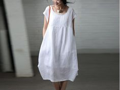 White  Women  Loose   linen  Long  Dress by clothingshow on Etsy, $59.90