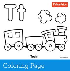 'T' is for train! Toot-toot and choo-choo. Train play is so much fun and inspires imagination. You can add to the fun by printing this coloring page for your child to color like a favorite train set.