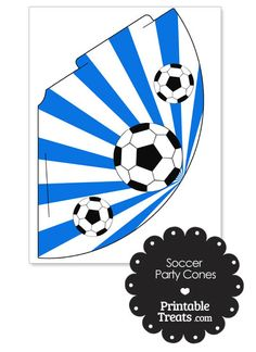 Blue Sunburst Soccer Party Cones from PrintableTreats.com