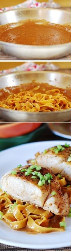 How to make Asian peanut sauce noodles plus white flaky fish. You can't go wrong with a Thai peanut sauce + noodles+ seafood! Easy, made completely from scratch! JuliasAlbum.com | You can use any white flaky fish: halibut, mahi-mahi, tilapia, black cod