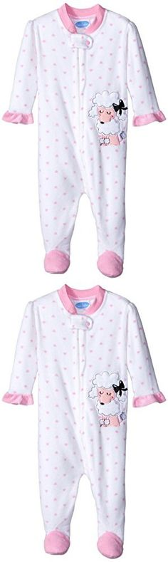 BON BEBE Baby-Girls Newborn Pretty Poodle Micro Fleece Zip Front Footed Coverall, Multi, 6-9 Months