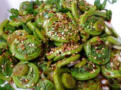 fiddlehead salad with sesame vinaigrette