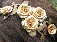 Gold flower headband leather gold roses bronze by Leatherblossoms, $55.00