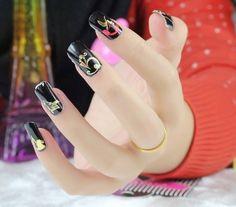 Punkii Kawaii Nail Wraps / Nail Art / Gold Wolf / Gold Unicorn / Black and Red Nails from Kawaii Nail Kandy
