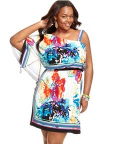 Love Squared Plus Size Dress, One-Shoulder Printed - Plus Size Dresses - Plus Sizes - Macy's