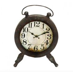 "13"" Farmhouse iron round table clock with peg legs, distressed and brown rust-finish, 1 AA battery operated clock with muddy white face and black numerals. Dime"