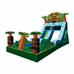 Tiki Falls Slide with Pool by Ninja Jump Commercial Water Slides, Things That Bounce, Ninja, Fall, Autumn, Ninjas