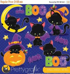 80% OFF SALE Halloween cat clipart by Prettygrafikdesign on Etsy