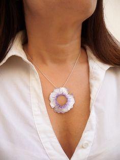 Handmade Violet Silver Pendant made of sterling silver and violet enamel.