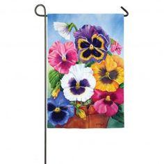 """Pansy Pot"" Printed Seasonal Garden Flag; Polyester 12.5""x18"" #summertime #summer #banners #gardenflags #flagsaflying"