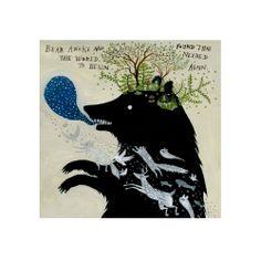 Bear Awoke - 10 x 10 inch Limited Edition Archival Inkjet Print (giclée) by Diana Sudyka