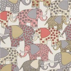white patterned elephant fabric by Timeless Treasures (per 0.5m multiple): Amazon.co.uk: Kitchen & Home