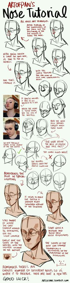 ★ Character design ★ How to draw the nose at different angles tutorial.