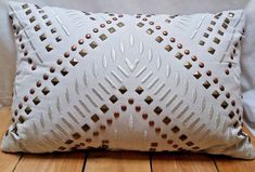 Metallic Studded and Embroidered Rectangle Decor Throw Pillow 12 in X 18 in Couch Pillows, Decorative Throw Pillows, Metallic, Accent Pillows, Decorative Pillows, Sofa Cushions