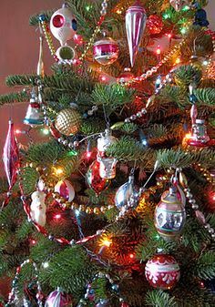 Vintage Christmas Ornaments. This is the most Beautiful of Trees.