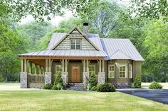 Rustic Cottage House Plan with Wraparound Porch -
