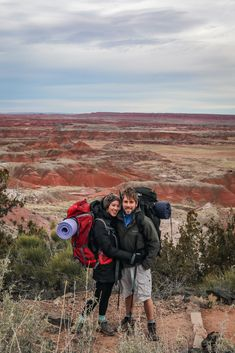 Backpackers in the Painted Desert of Petrified Forest National Park, Arizona. Petrified Forest National Park, National Forest, Arizona Travel, Arizona Usa, Desert Map, Arizona National Parks, Painted Desert, Historic Route 66, Camping Guide
