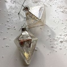 Gilded Glass Silver Diamond Shaped Bauble Set Of Two