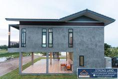 แบบบ้านสองชั้นใต้ถุนสูง ขนาด 2 ห้องนอน สวยเทห์แนวลอฟท์   ดูไอเดียบ้าน Coastal House Plans, Simple House Plans, Beautiful House Plans, Cottage House Plans, Modern House Plans, Unique House Design, Tiny House Design, Hut House, Woodland House