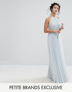 Maya Petite High Neck Maxi Tulle Dress With Tonal Delicate Sequins