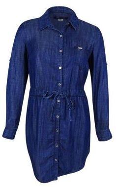 4514f767323 Tommy Hilfiger Women s Belted Denim Shirt Dress (Indigo