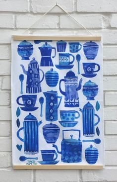 Blue coffee cup teatowel by Tracey English