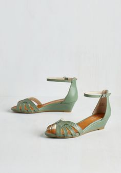 Break Wedge in Sage. Free your style into a whole new world of fashionable bliss simply by buckling into these sage green sandals! #green #modcloth