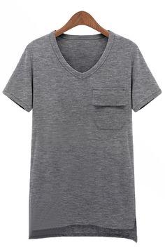 Grey Short Sleeve Pocket Asymmetrical T-Shirt