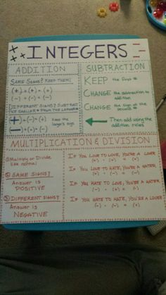 """Integer Rules Poster  -- I love the """"love/hate"""" section at the bottom!  Cool approach"""