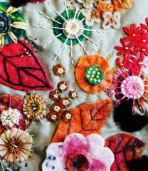 'Forest Floor' by Heidi Dennis. Dorest buttons, applique embroidery on green silk showing the decay of autumn leaves and flowers, with a spider and her web. http://www.embroiderersguild.com/