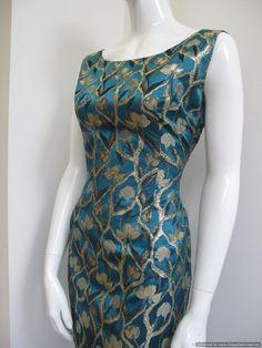 2fe4d6fc979a 1960 s Teal blue satin brocade vintage cocktail dress SOLD