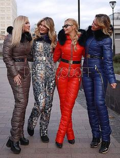 Crazy Outfits, Girly Outfits, Leather Jacket Outfits, Leather Pants, Moncler Jacket Women, Ski Jumpsuit, Down Suit, Winter Suit, Blue Gold