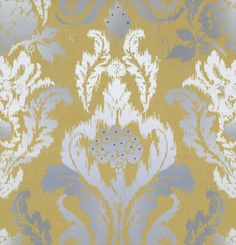New Ikat Wallpaper (DW1566/02/001) - Kandola Wallpapers - A beautiful stylised damask in a distressed effect with stunning Swarovski crystals making this paper very elegant. Shown in mustard yellow with grey and white detail. Please request a sample for true colour match and to truly appreciate this paper. This is a paste the wall product. Wide width