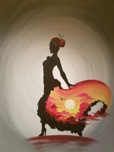 Unique painting idea, lady dancing with sunrise painted in her skirt.