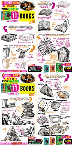 Drawing Tutorial Hey guys, today's tutorial looks at how to THINK When you draw BOOKS! Great for adding a lived-in feel to your interiors, or just for helping you draw all those spell books in your Harry Potter fan. Drawing Lessons, Book Drawing, Drawing Skills, Drawing Techniques, Drawing Tips, Drawing Reference, Comic Drawing, Comic Tutorial, You Draw
